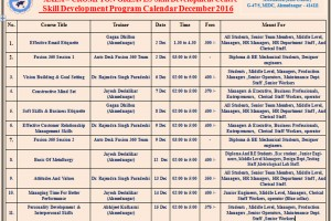 Skill Development Program Calendar December 2016